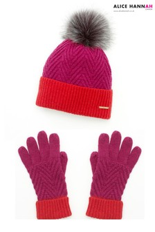 Alice Hannah Colour Block Hat Gloves Set