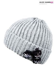Alice Hannah Flower Embellished Ribbed Beanie