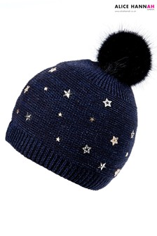 Alice Hannah Star Embellished Faux Fur Pom Knit Beanie