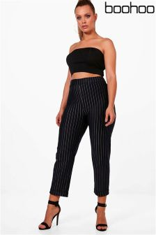 Boohoo Plus Stripe Turn Up Cuff Trousers