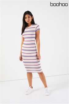 Boohoo Stripe Midi Dress