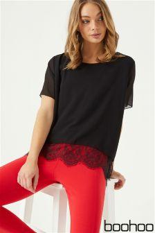 Boohoo Lace Hem Woven T-Shirt