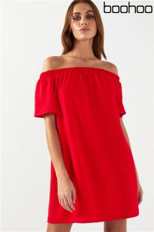Boohoo Frill Off Shoulder Shift Dress