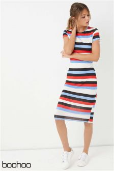 Boohoo Striped Bodycon Dress