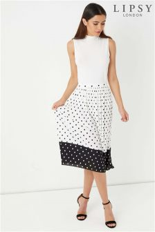 Lipsy Polka Dot Pleated Midi Skirt