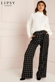Lipsy Window Pane Check Wide Leg Trouser