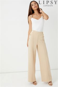 Lipsy Camel Wide Leg Gold Button Detail Trousers