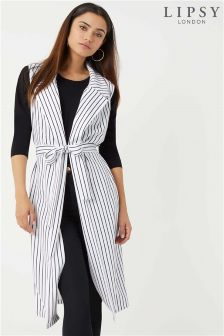 Lipsy Stripe Sleeveless Longline Duster Jacket