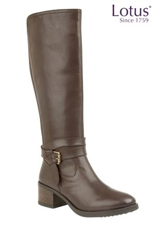 Lotus Leather Long Boots