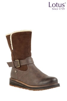 Lotus Buckle Calf Boots
