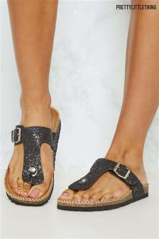 PrettyLittleThing Buckle Detail Glitter Sandals