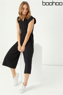 Boohoo Wrap Front Culotte Jumpsuit