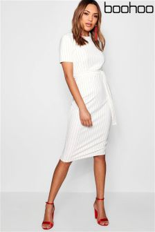 Boohoo Stripe Belted Midi Dress