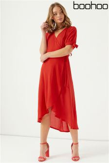 Boohoo Hi-Low Hem Wrap Dress