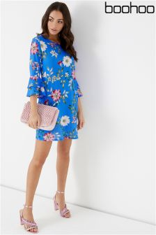 Boohoo Printed Frill Sleeve Shift Dress