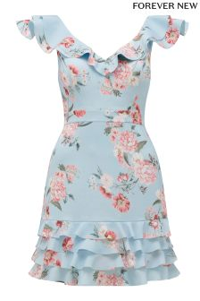 Forever New Floral Print Crepe Frill Dress