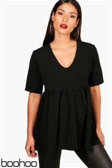 Boohoo Maternity Crepe V neck Smock Top