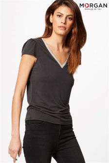 Morgan V neck Embellished T-Shirt