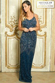 Sistaglam Loves Jessica Rose Embellished Maxi Dress
