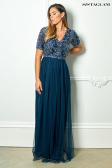 Sistaglam Loves Jessica Rose Sequin Short Sleeve Maxi Dress
