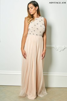 Sistaglam Rose Embellished Cold Shoulder Maxi Dress