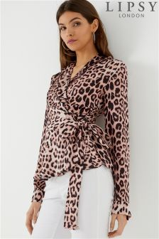 Lipsy Satin Leopard Wrap Top