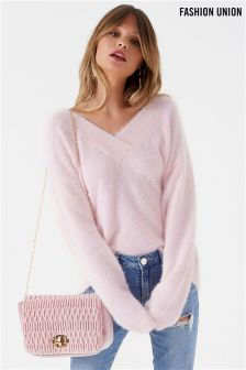 Fashion Union Fluffy V neck Jumper