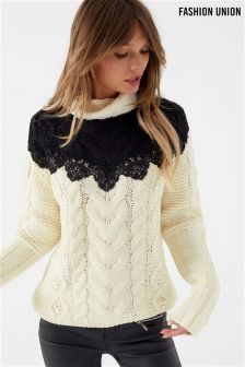 Fashion Union Lace Colour Block Cable Knit Jumper