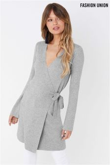 Fashion Union Knitted Wrap Dress