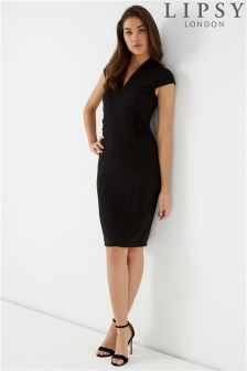 Lipsy V neck Ruched Bodycon Dress