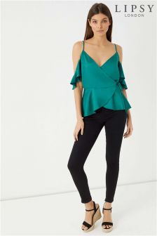 Lipsy Cold Shoulder Satin Wrap Top