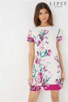 Lipsy Floral Printed Border Shift Dress