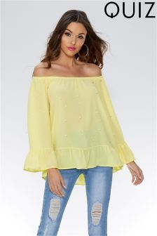 Quiz Pearl Embellished Frill Detail Bardot Top