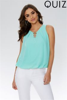Quiz Circle Trim Sleeveless Bubble Hem Top