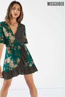 Missguided Floral and Polka Dot Mini Tea Dress