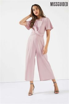 Missguided Drape Front Wide Leg Jumpsuit