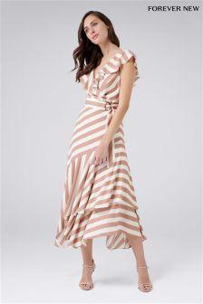 Forever New Tie Waist Ruffle Tea Dress