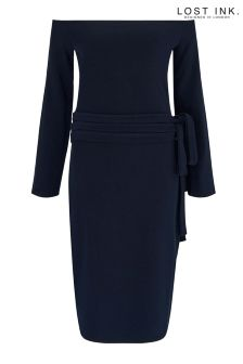 Lost Ink Bardot Belted Bodycon Dress