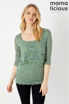 Mamalicious Nursing Three-Quarter Woven Lace Top