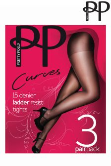 Collants Pretty Polly Curves noir résistants au filage