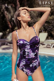 Lipsy Tori Print Gathered Swimsuit