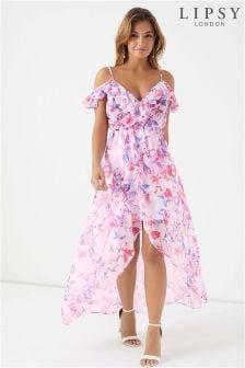 Lipsy Izzie Print Frill Maxi Dress