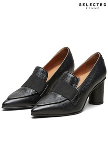 Selected Femme High Heel Leather Loafers