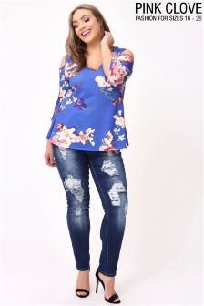 Pink Clove Plus Floral Swing Top