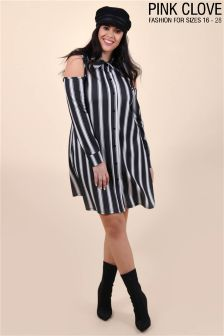 Pink Clove Plus Striped Shirt Dress