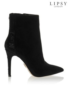 Lipsy Diamanté Back Pointed Ankle Boots