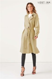 Lost Ink Tie Back Trench Coat