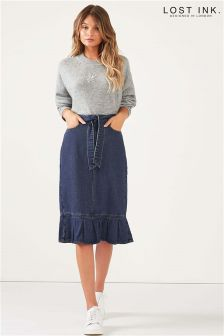 Lost Ink Ruffle Hem Denim Pencil Skirt