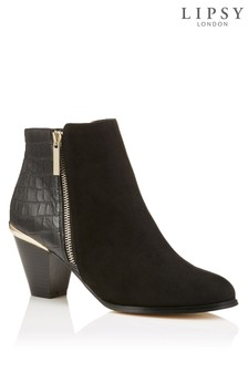 Lipsy Croc Back Detail Cuban Ankle Boots