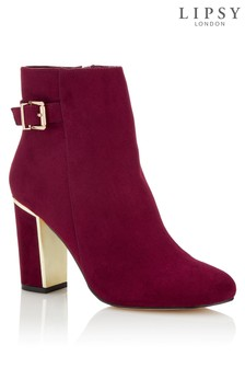 Lipsy Buckle Detail Block Heel Ankle Boots